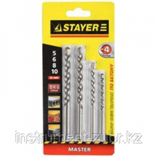"Набор STAYER Сверла ""MASTER"" по бетону, 5; 6; 8;10мм, 4шт"