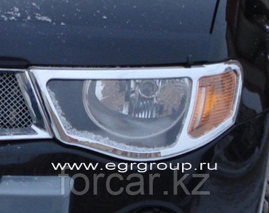 Накладки на передние фары EGR хромированные Mitsubishi L200 2007-2009 , фото 2