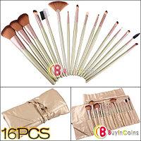 Набор кисточек для нанесения макияжа (16 штук) + чехол
