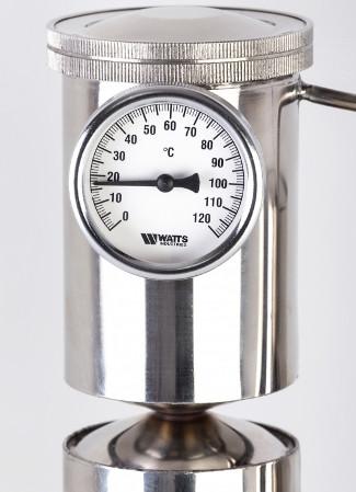 Для контроля температуры конструкцией самогонного аппарата МАГАРЫЧ МАШКОВСКОГО 12л предусмотрен точный биметаллический термометр