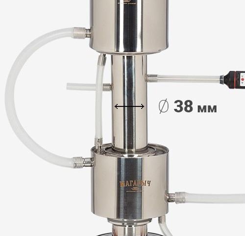 Большой диаметр царги исключает возможную закупорку отверстий частицами браги (жмыхом, ягодами) во время кипения