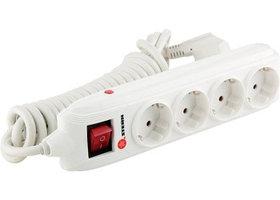 95747 Удлинитель бытовой с заземлением, выключателем и шторками, 3*1,5мм*4м, 4 розетки, 16A, STERN