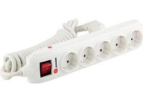 Удлинитель бытовой с заземлением, выключателем и шторками, 3*1,5мм*2м, 5 розетки, 16A, STERN