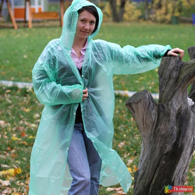 Дождевик-плащ одноразовый с капюшоном