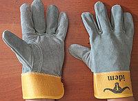 Перчатки спилковые комбинированные, толстый спилок, фото 1