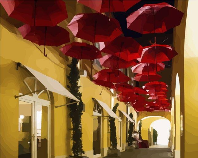 """Картина по номерам """"Улица из зонтиков"""" под заказ 3 дня"""