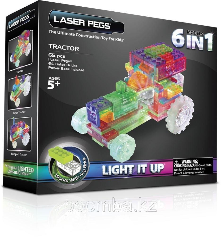 Конструктор со светодиодами Трактор, набор 6 в 1
