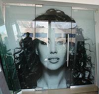 Стеклянная Маятниковая Дверь  с фрамугой и боковыми панелями.
