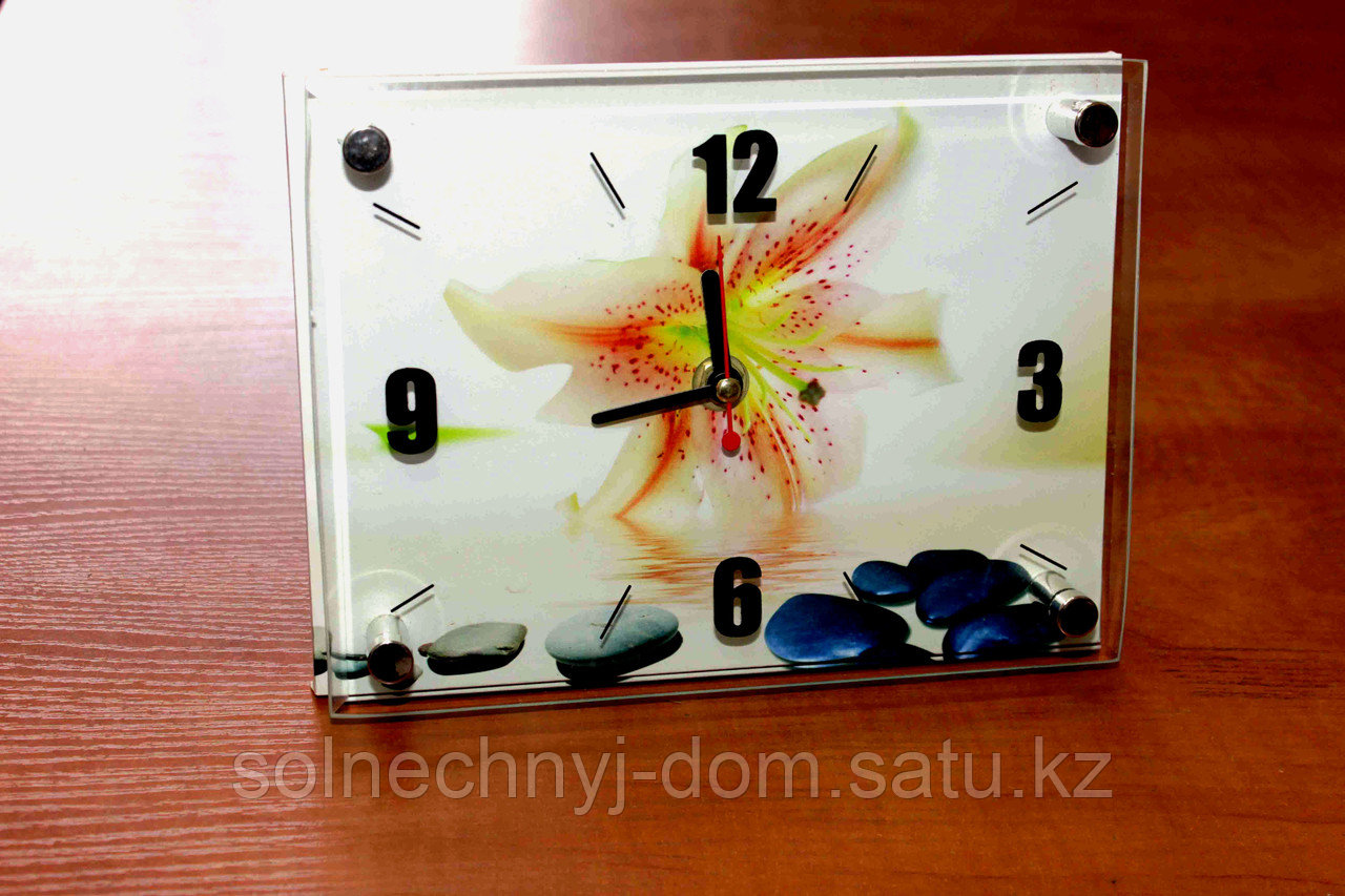 """Часы настольные """"Лилия на воде"""", стеклянные"""