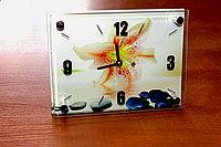 """Часы настольные """"Лилия на воде"""", стеклянные, фото 1"""