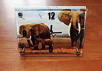 """Часы настольные """"Слоны"""", стеклянные, фото 1"""