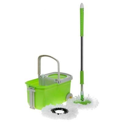 Набор для уборки: ведро на колесах с центрифугой, швабра
