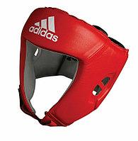 Боксерский шлем (красный) кожа AIBA
