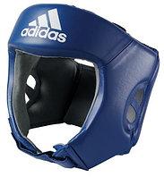 Боксерский шлем (синий) кожа