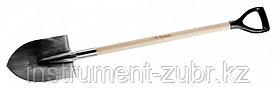 Лопата штыковая из нержавеющей стали, деревянный черенок, с рукояткой, ЗУБР Профессионал