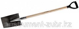 Лопата трапециевидная из нержавеющей стали, деревянный черенок, с рукояткой, ЗУБР Профессионал