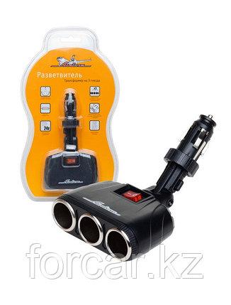 Разветвитель прикуривателя на 3 гнезда + USB. , фото 2