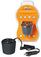 Прикуриватель-разветвитель 2 гнезда + 2USB в подстаканник с индикатором зарядки АКБ обрезиненый