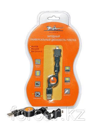 Зарядный универсальный дата-кабель рулетка miniUSB/microUSB/для IPhone 5, фото 2
