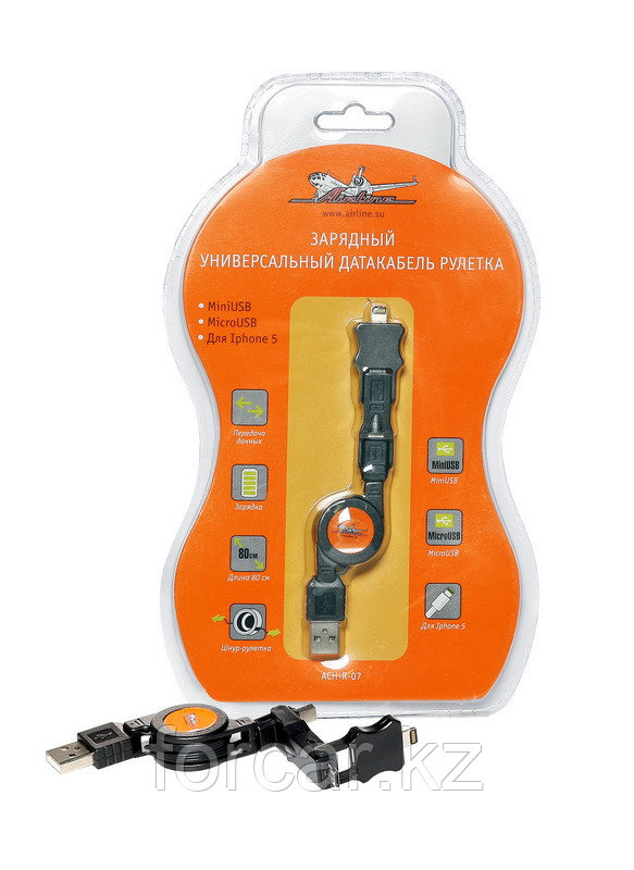 Зарядный универсальный дата-кабель рулетка miniUSB/microUSB/для IPhone 5