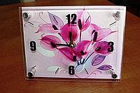 """Часы настольные """"Розовые Калы"""", стеклянные, фото 1"""