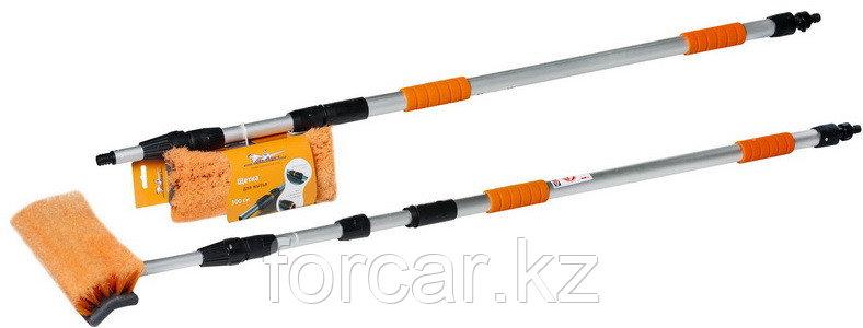 Швабра с насадкой для шланга, щеткой 25 см и телескопической ручкой 300 см, фото 2