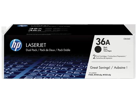HP CB436AF Dual Pack Black Print Cartridge for LaserJet P1505/M1120/n/M1522, up to 2000 pages