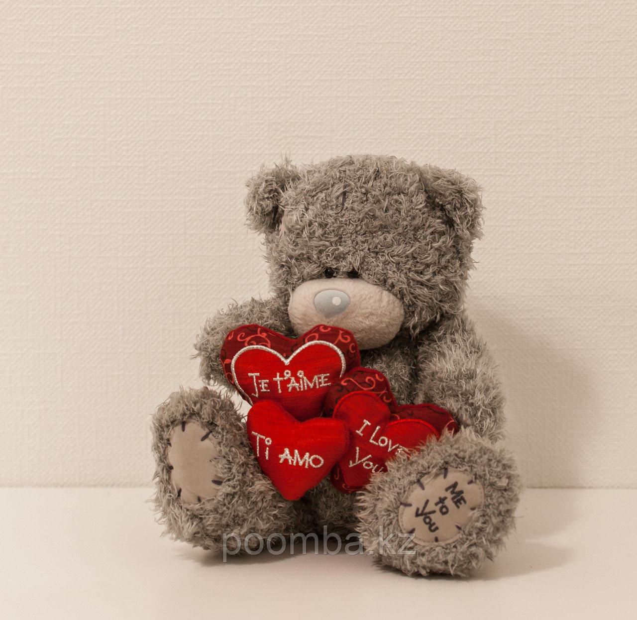 """Мягкая игрушка Teddy """"Me to You"""" 22 см с тремя сердцами"""
