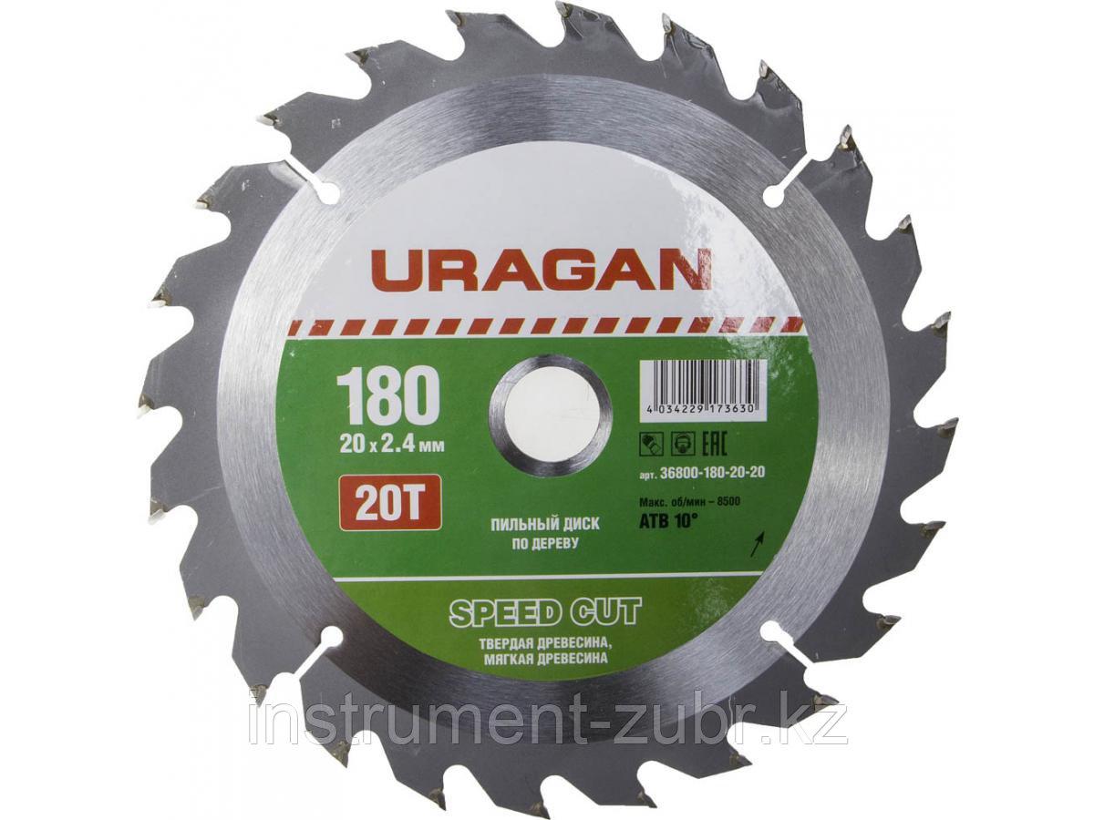 """Диск пильный """"Fast cut"""" по дереву, 180х20мм, 20Т, URAGAN"""