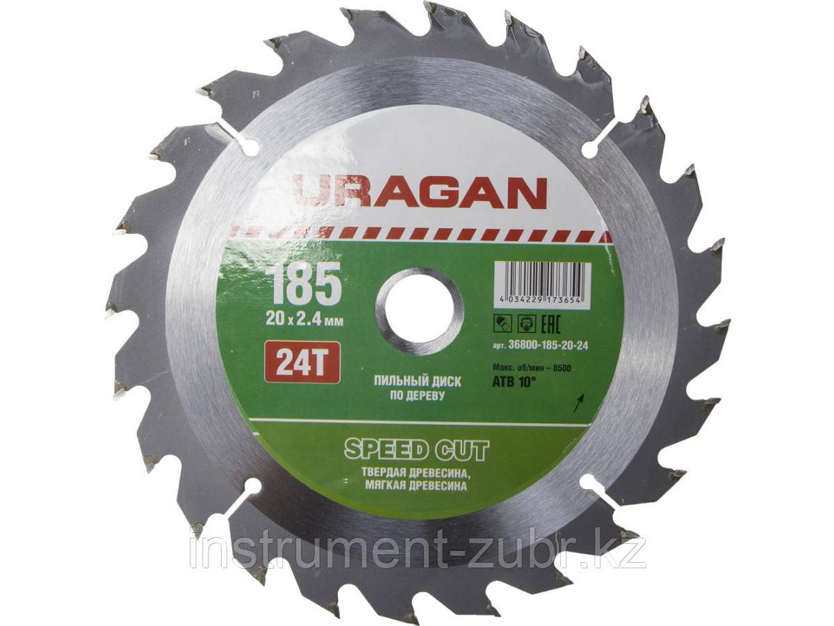 """Диск пильный """"Fast cut"""" по дереву, 185x20мм, 24Т, URAGAN"""