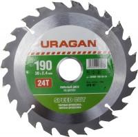 """Диск пильный """"Fast cut"""" по дереву, 190х30мм, 24Т, URAGAN"""