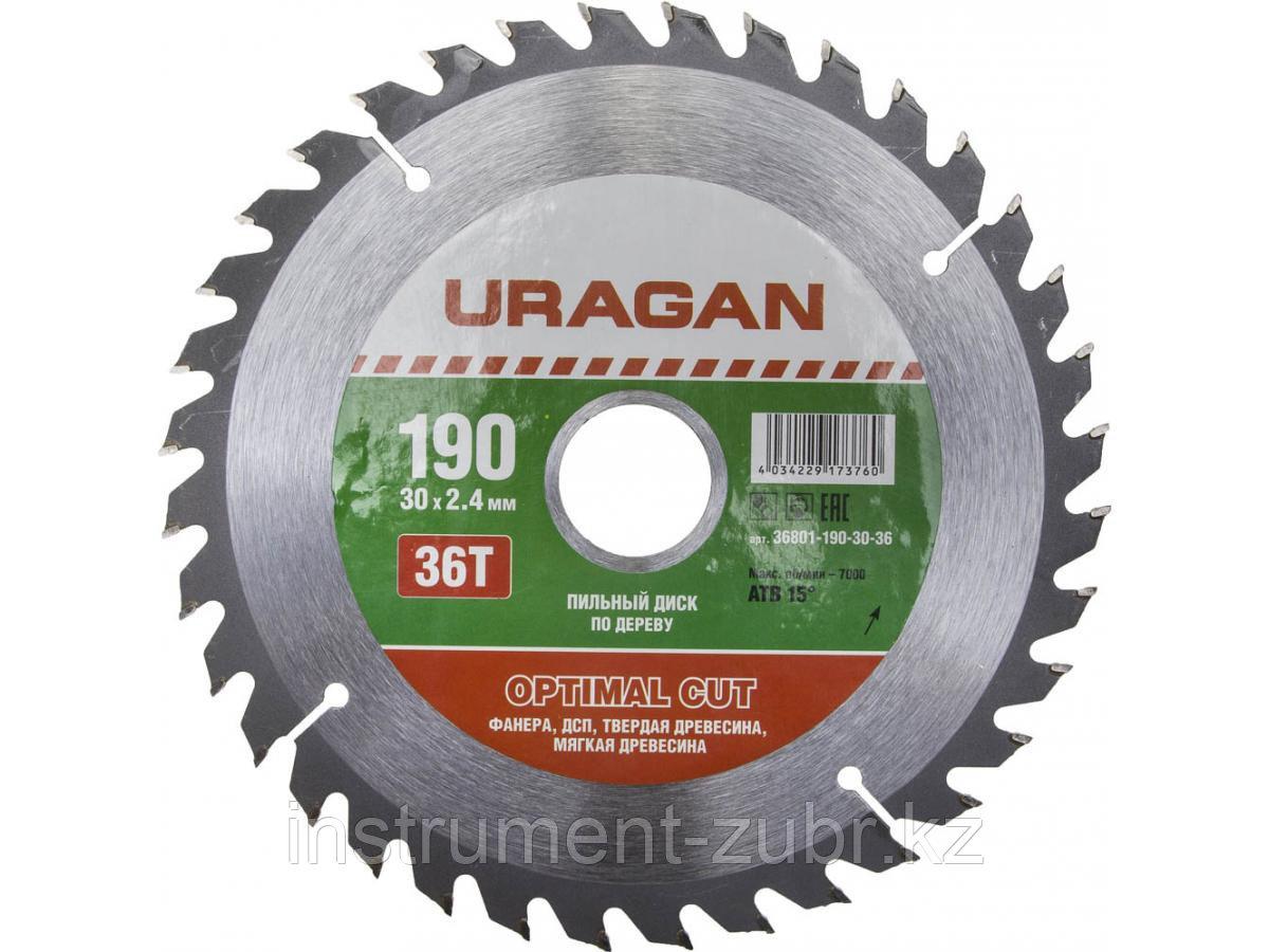 """Диск пильный """"Optimal cut"""" по дереву, 190х30мм, 36Т, URAGAN"""