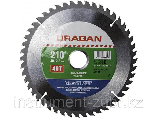 """Диск пильный """"Clean cut"""" по дереву, 210х30мм, 48Т, URAGAN, фото 2"""