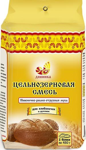 Пшенично-Ржано-Отрубная мука, цельнозерновая смесь, 700гр