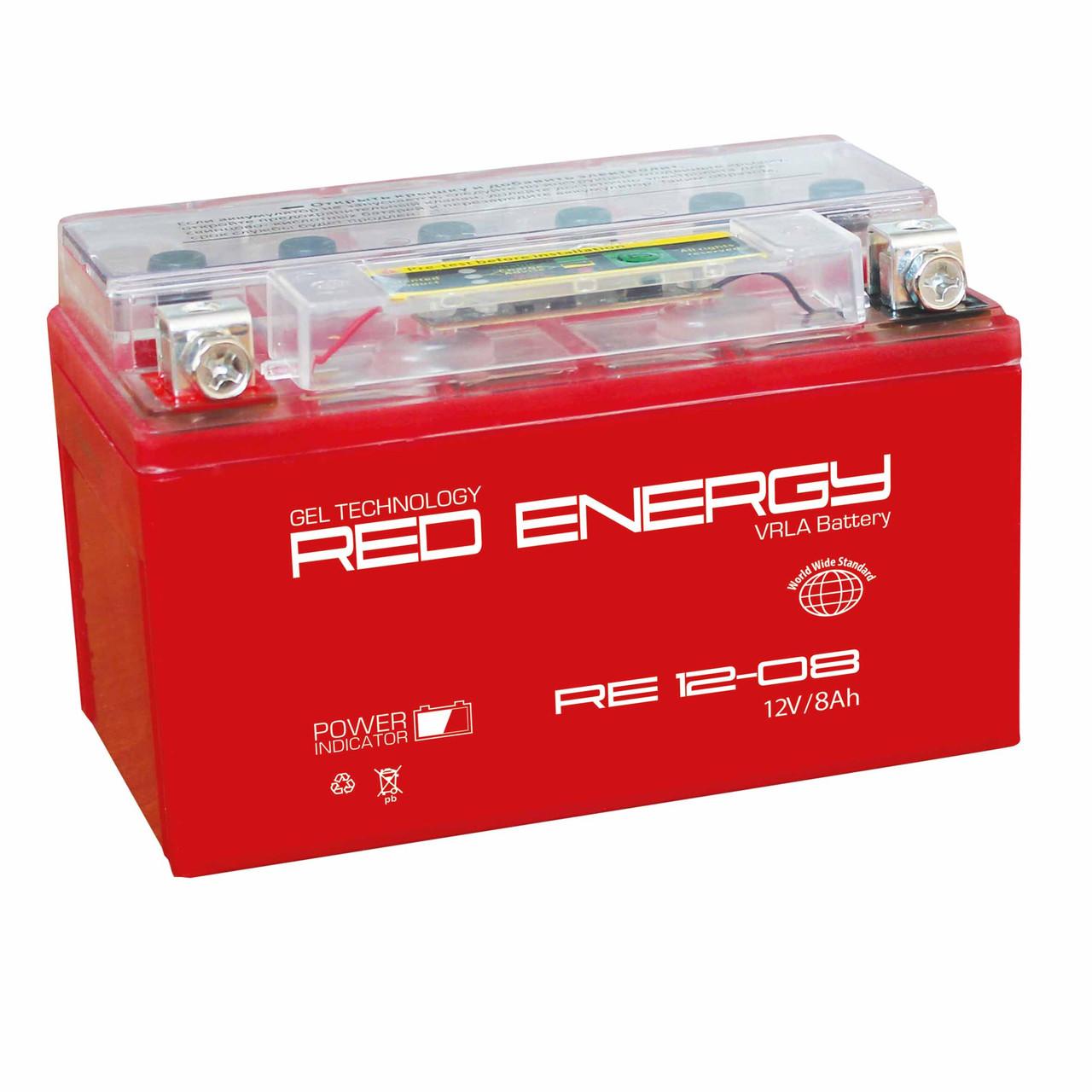 АККУМУЛЯТОР RED ENERGY RE 12-08 (150Х66Х95)