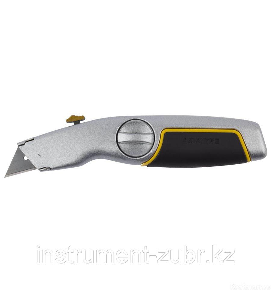 """Нож STAYER """"MASTER"""" металлический обрезиненный корпус, выдвижное лезвие"""