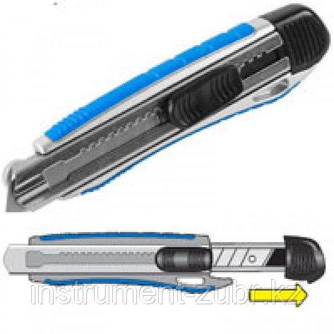 """Нож ЗУБР """"ЭКСПЕРТ"""" с сегментированным лезвием, метал обрезин корпус, автостоп, допфиксатор, кассета на 5 лезвий, 18мм                                 , фото 2"""