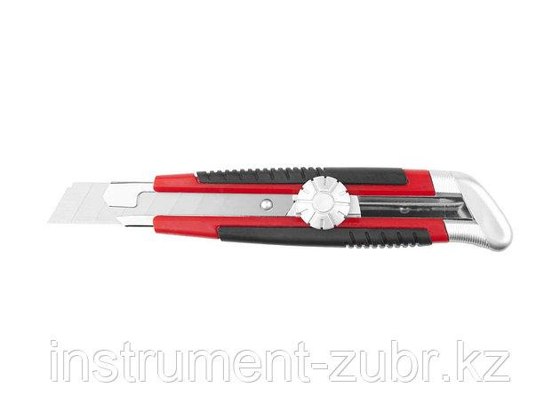 Нож URAGAN с выдвижным сегментированным лезвием, двухкомп корпус, механический фиксатор, инструментальная сталь, 18мм                                 , фото 2