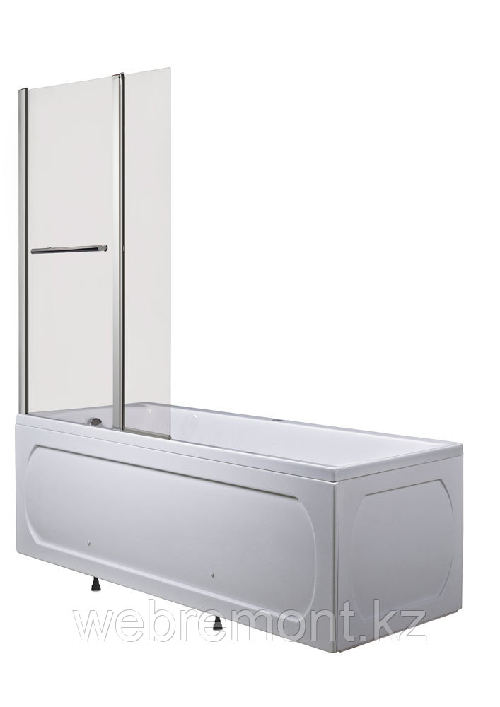 Стеклянная перегородка, шторка половинчатая на ванну  -  Р-07 (95х150 см)