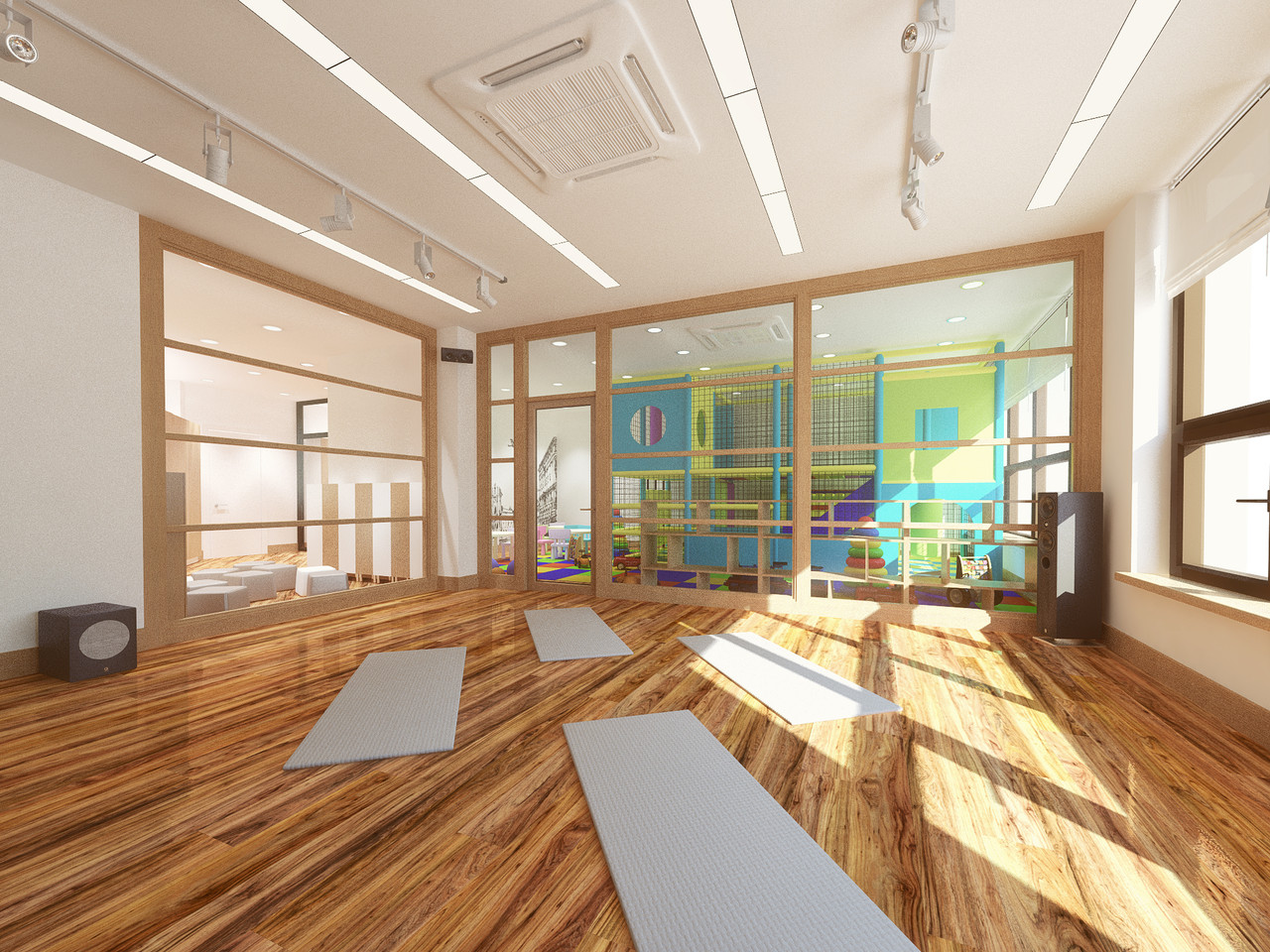 Дизайн зала для йоги с детской площадкой