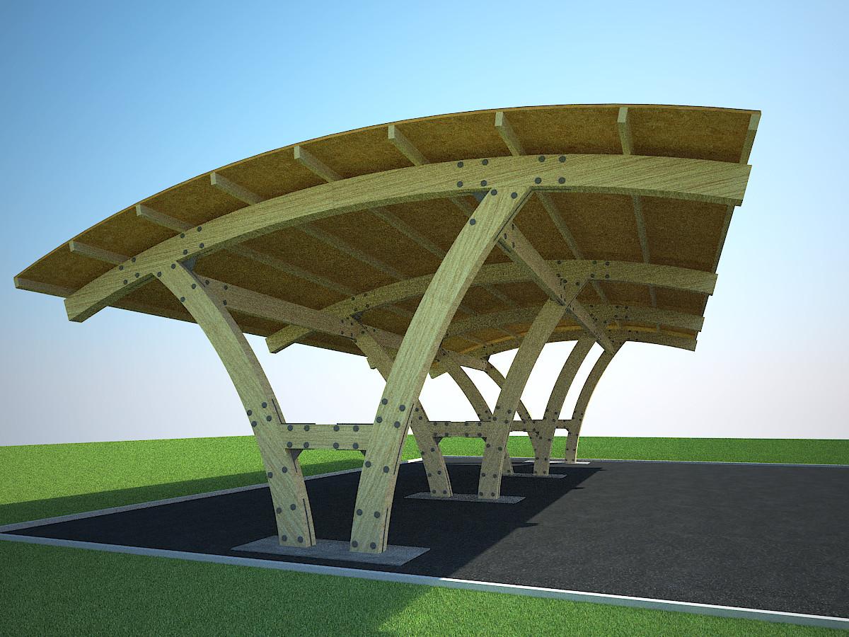 Дизайн-проект деревянных навесов для автомобилей