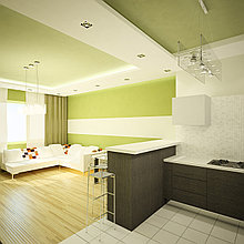 Дизайн современной кухни и гостиной