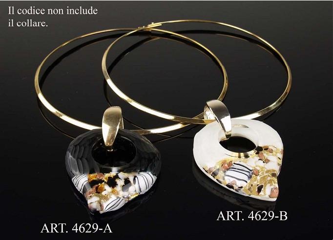 Кулон на металлическом ожерелье. Муранское стекло, ручная работа, Италия
