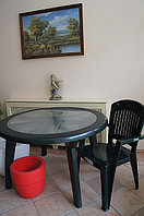 Стол пластиковый со стекляной столешницей