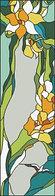 "Шаблон для витража ""Цветы и птица"""