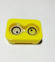 Контейнер для линз + щипчики Желтый