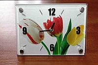 """Часы настольные """"Весенние тюльпаны"""", стеклянные, фото 1"""