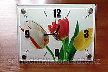 """Часы настольные """"Весенние тюльпаны"""", стеклянные"""