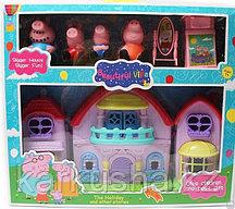 Розовый дом с мебелью + 4 фигурки 7 см. Свинка Пеппа(не оригинал)
