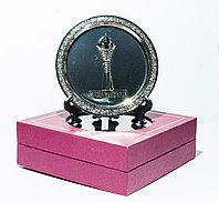 """Сувенирная тарелка металлическая """"Байтерек"""" в коробке, 17 см"""